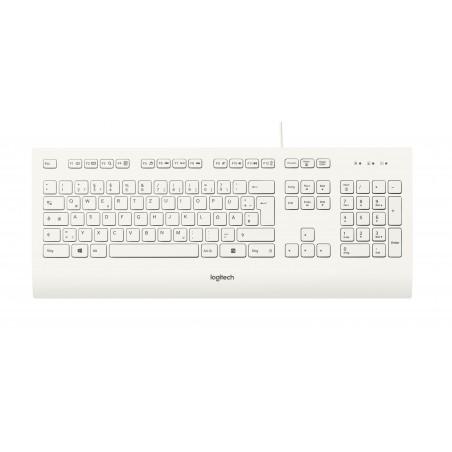 Logitech K280e - Standard - Avec fil - USB - QWERTZ - Blanc