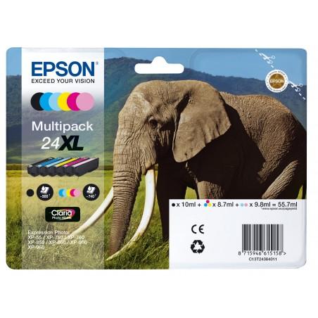 Epson Elephant Multipack 6-colours 24XL Claria Photo HD Ink - Original - Encre à pigments - Noir - Cyan - Cyan clair - Magenta