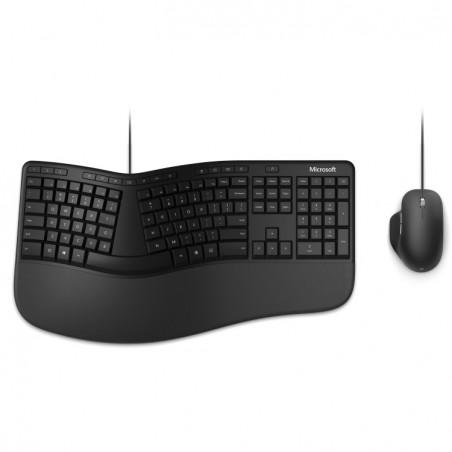 Microsoft Ergonomic Desktop for Business - Standard - USB - QWERTY - Noir - Souris incluse