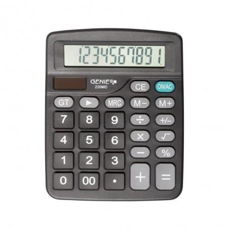 Genie 220 MD - Bureau - Calculatrice basique - 10 chiffres - Affichage inclinable - Batterie/Solaire - Noir